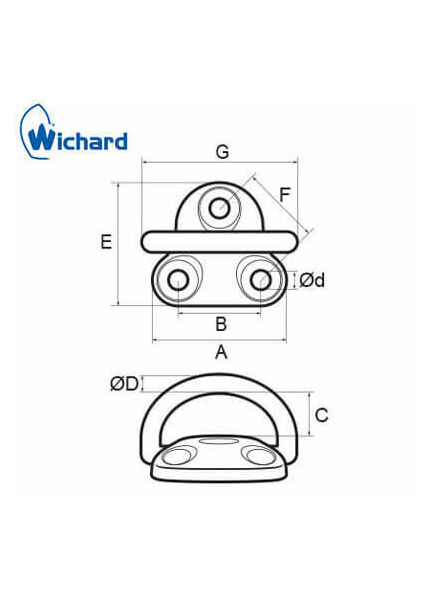 Wichard 8mm Folding Pad Eye