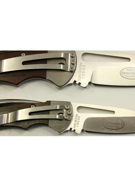 Myerchin G2 Crew Wood Handle Folder Rigging Knife (Plain and Serrated)