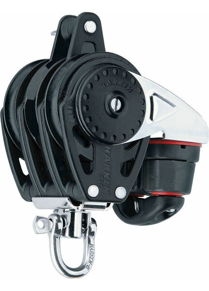 Harken 57 mm Triple Ratchamatic Block Swivel, Becket, Cam Cleat