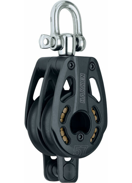 Harken 57 mm Aluminum Double Block Swivel, Becket