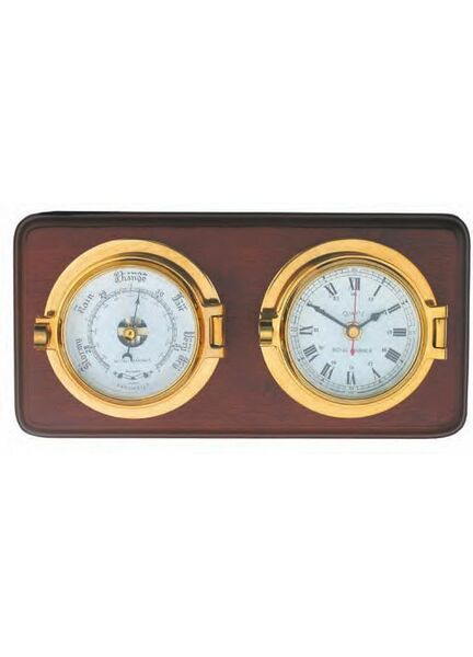 Meridian Zero Channel Clock & Barometer on Wooden Board