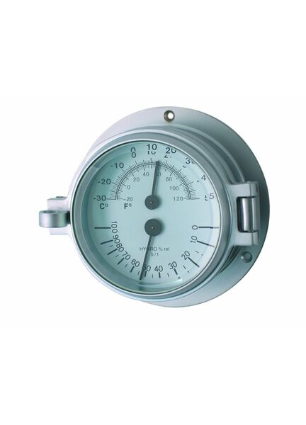 Meridian Zero Matt Chrome Channel Thermometer & Hygrometer