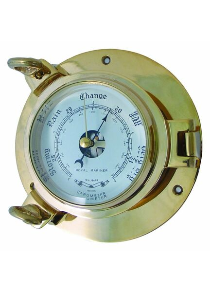 Meridian Zero Solid Brass Porthole Style Barometer - Large