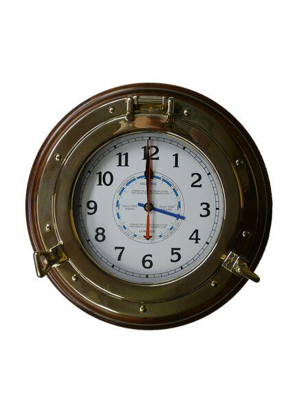 """Meridian Zero Brass Porthole Wood Mounted Tide Clock - 14"""""""