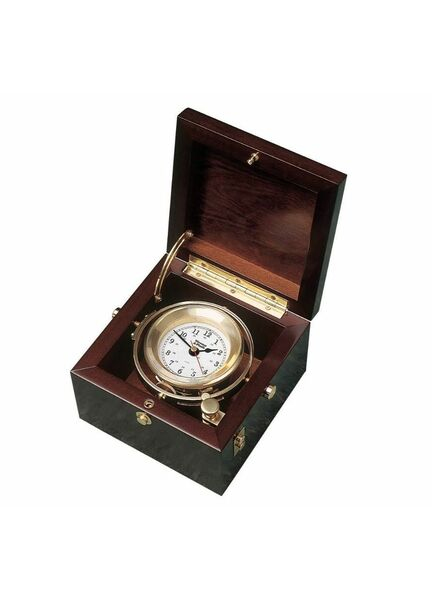 Weems & Plath Brass Gimballed Nautical Box Clock