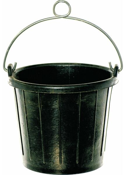 Heavy Duty Black Rubber Bucket - 8 Litres