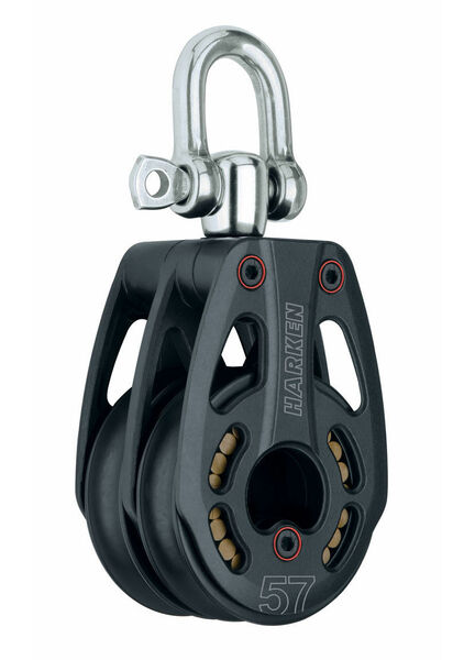 Harken 57 mm Aluminum Low-Load Double Block Swivel