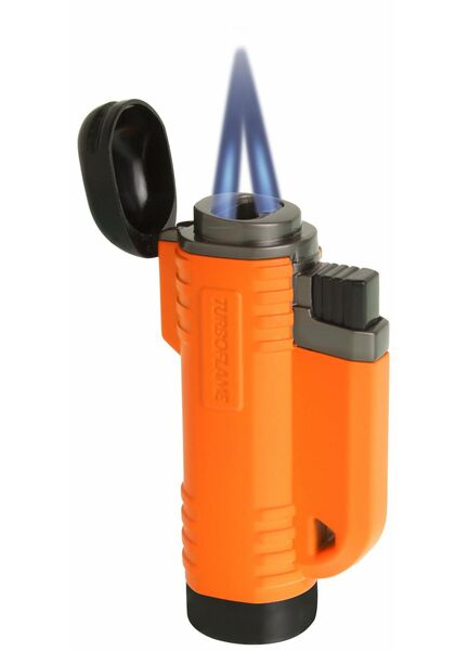 Turboflame V Flame Twin Jet Lighter - Orange - Retail Blister Packed