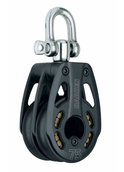 Harken 75 mm Aluminum Double Block Swivel