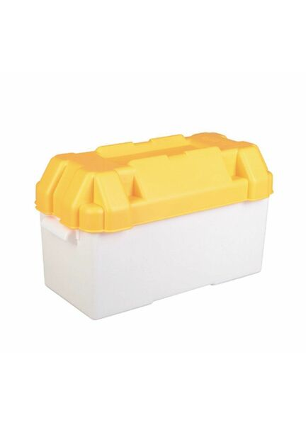Motorhome or Caravan 110amp Yellow Leisure Battery Holding Box - Large