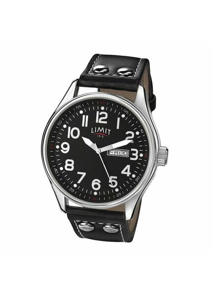 Limit Pilot's Watch With PU Leather Strap - Black/Silver