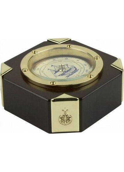 Nauticalia Porthole Style Compass In Wooden Stand